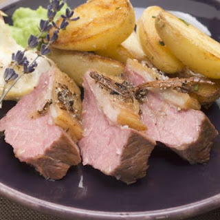 Garlic Roast Lamb with Oven Cooked Potatoes