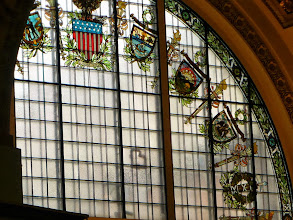 Photo: Detail of the stained glass heraldic representations of the states.