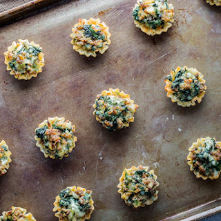 Mini Sausage and Spinach Phyllo Cups.