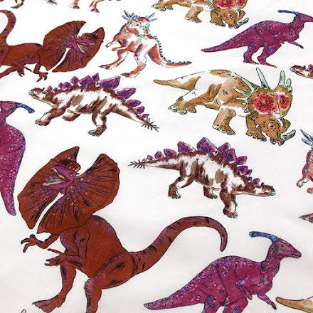 Dino Bomullsvoile - röda nyanser