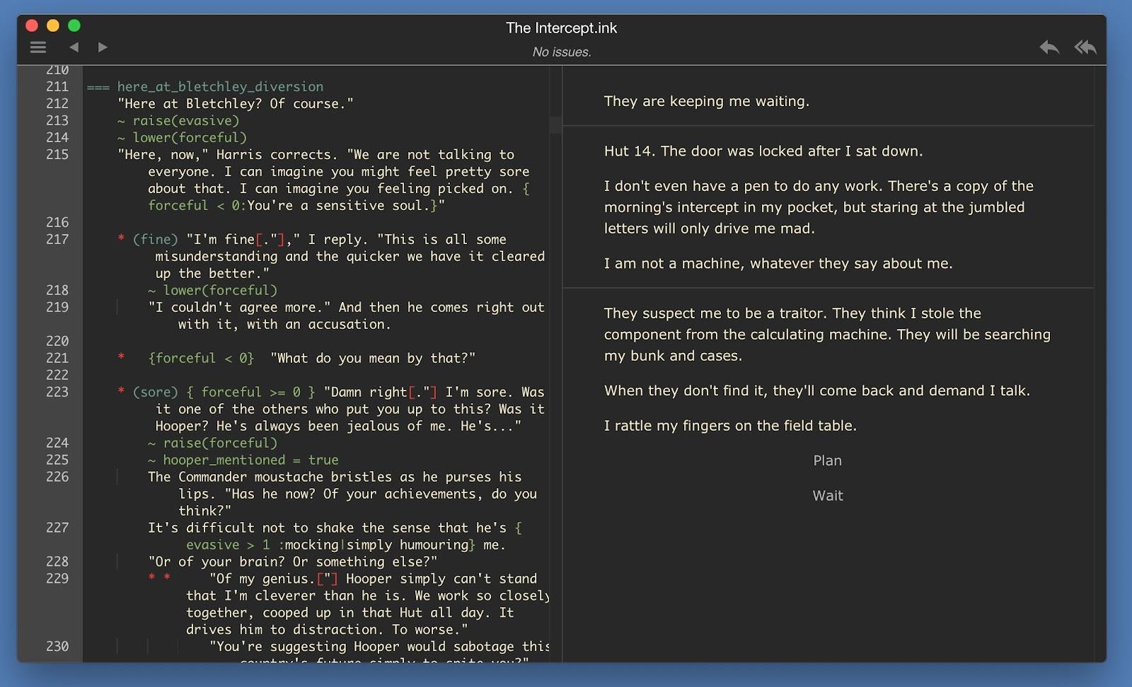 Capture d'écran du logiciel Inky, montrant le nouveau mode sombre.
