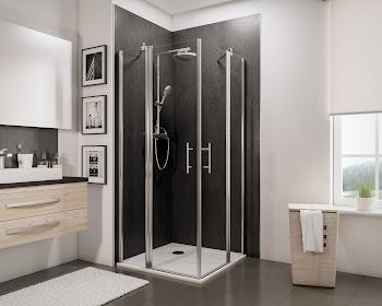 Accès d'angle droit avec portes pivotantes, 80 et 80 cm ou 90 et 90 cm