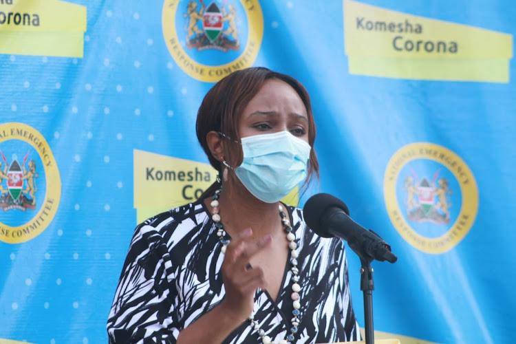 Health CAS Mercy Mwangangi gives the daily Covid-19 updates at Afya House on 28th.June.2020/EZEKIEL AMINGA