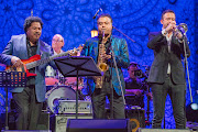 James Genus, Horacio Hernandez, Rudresh Mahanthappa and Till Bronner perform at the 2018 International Jazz Day concert in St Petersburg, Russia.