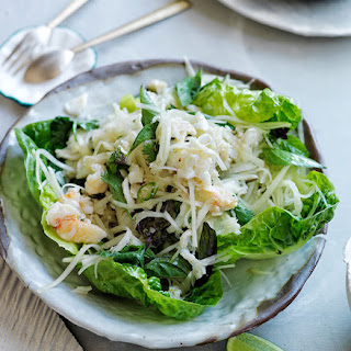 Spicy Crab And Green Papaya Salad On Lettuce Leaves.