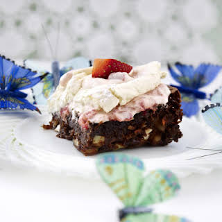 Carrot Brownie with Meringue and Raspberry.