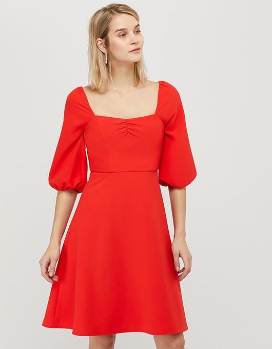 Monsoon Red Cap Sleeve Dress