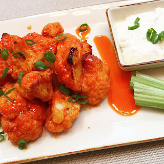 "Buffalo Cauliflower ""Wings"" with a Hot & Honey Sauce."