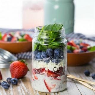 Red White and Blue Mason Jar Salad (Fruit and Feta Salad).