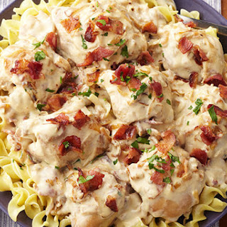 Slow-Cooker Smothered Chicken with Bacon & Onions.