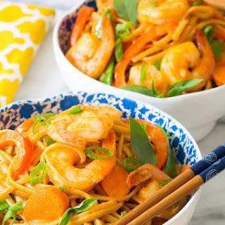 One Pot Thai Curry Shrimp Pasta.