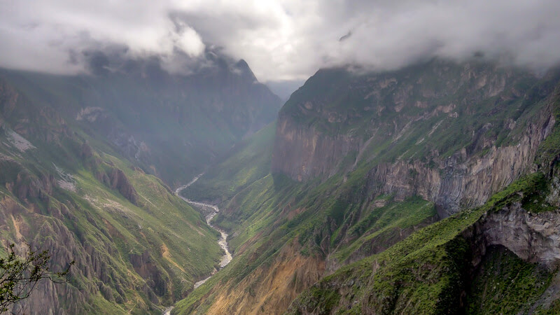 Colca canyon valley in peru
