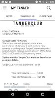 Screenshot of Tanger Outlets