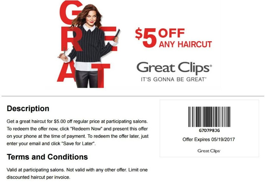 5 Off A Haircut At Great Clips 05192017 Free Coupons