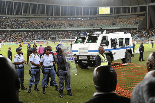 Crowd violence during the Nedbank Cup Semi Final match between Kaizer Chiefs and Free State Stars at Moses Mabhida Stadium on April 21, 2018. Picture: Gallo Images/Anesh Debiky