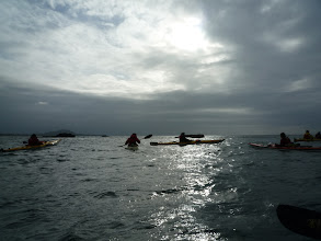Photo: Paddling near open water, it is a bit rougher for a change but quite exhilarating.  Photo by Ben.