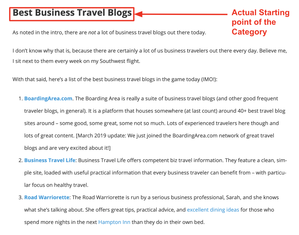 business travel blogs list section