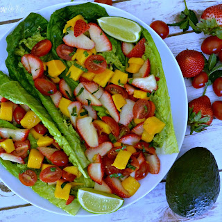 Raw Strawberry Mango Avocado Tacos
