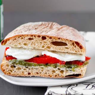 Roasted Red Pepper and Mozzarella Sandwiches with Arugula Pesto.