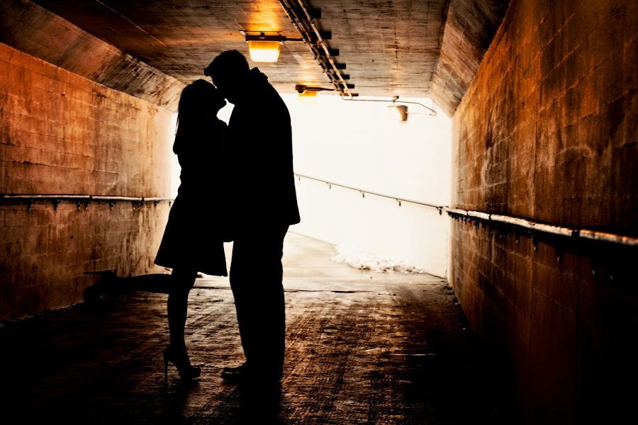 Tunnel of Love by Zach Primozic - People Couples ( love, kissing, silhouette, engagement, tunnel )