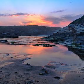 Praia de Esteiro by Jose María Gómez Brocos - Landscapes Beaches ( sky, seascape, rocks, beach, sunset, clouds, water )