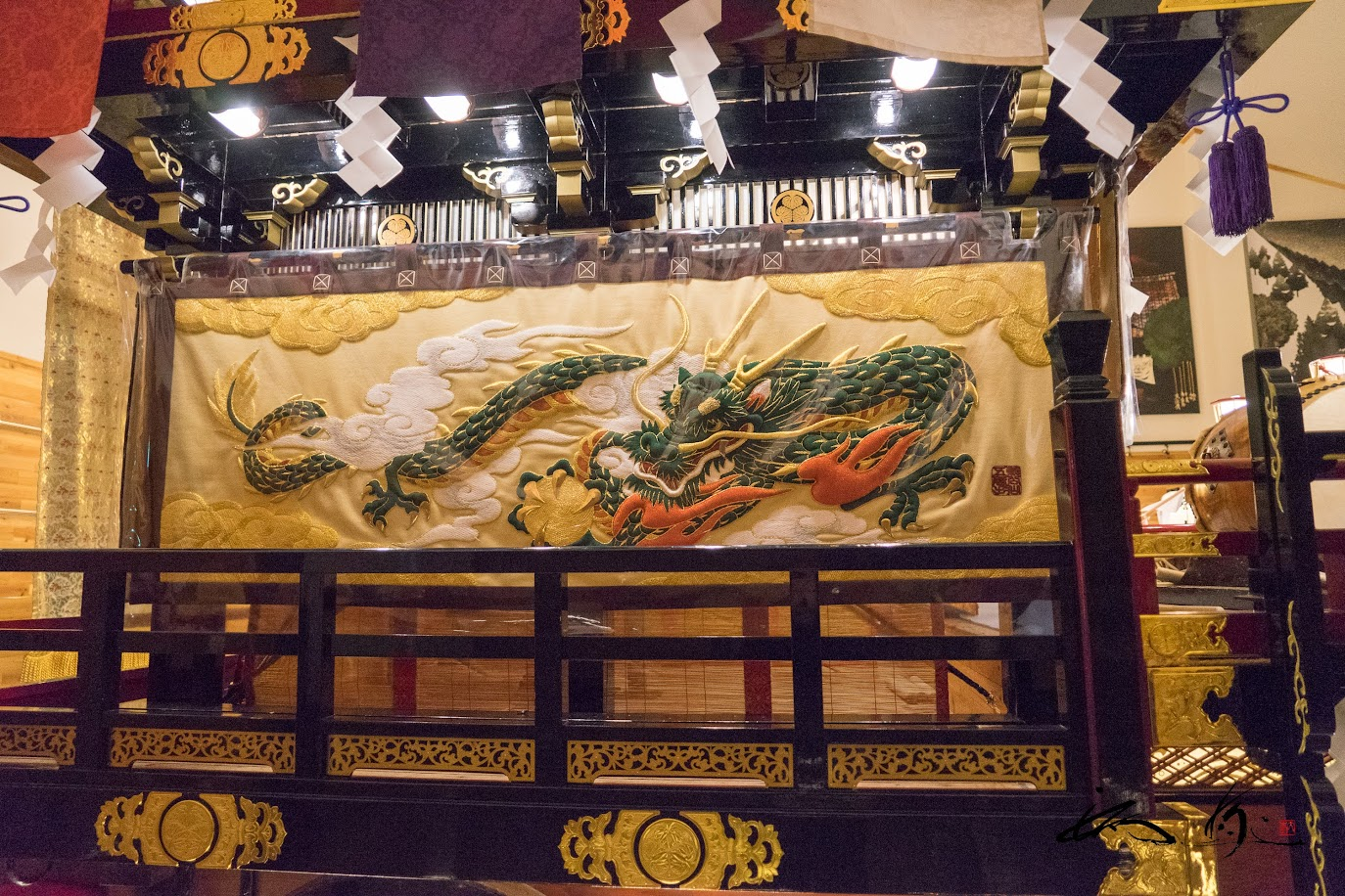 山車を飾る龍の絵柄
