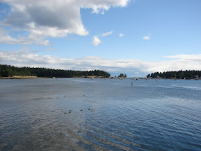 Photo: View from Nanaimo with Newcastle Island on the left and Protection Island on the right.