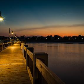 Bay St. Louis Pier by David Kreutzer - Buildings & Architecture Bridges & Suspended Structures ( water, biloxi, sun set, coast, nightscape, mississippi, bay st louis, gulf coast, night photography, pier, gufport, night, long exposure, fishing )