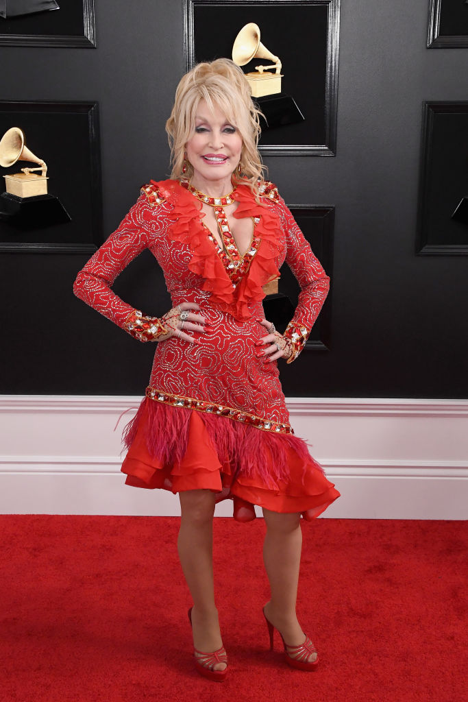 Dolly Parton on the red carpet at the 2019 Grammy Awards.