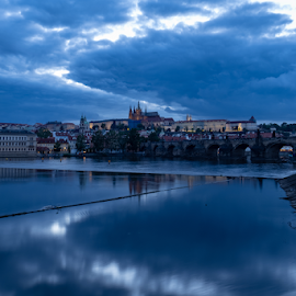 Blue Prague by George Marinakis - City,  Street & Park  Night ( reflection, city, cityscape, cloudscape, riverside, prague, river, clouds, europe )