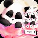 Cute pink panda keyboard icon
