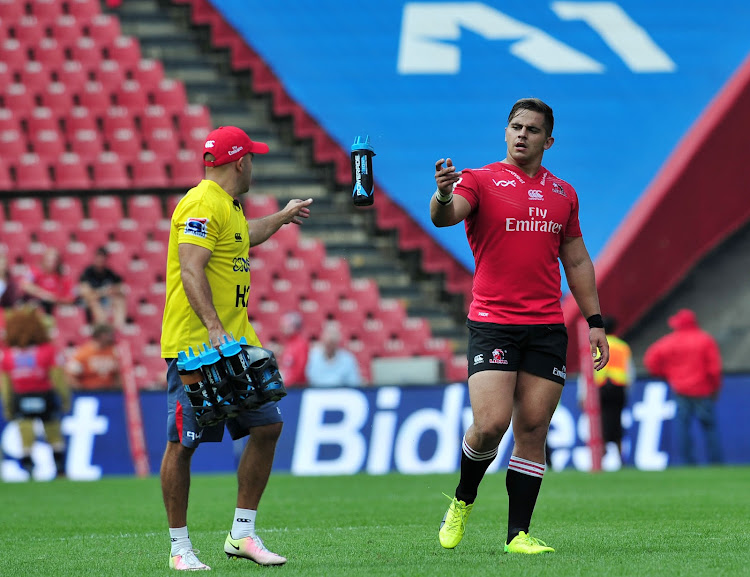 JP Ferreira assistant coach of the Lions and Rohan Janse van Rensburg of the Lions during the 2017 Super Rugby match between Lions and Waratahs at Ellis Park Stadium, South Africa on 04 March 2017.