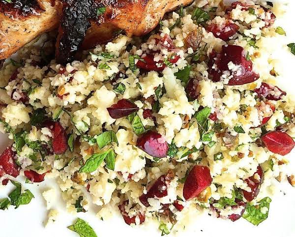 Cauliflower Couscous W/ Cherries, Pistachios, Mint Recipe