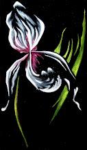 Photo: 326, Нетронина Наталья, Серия Цветы, Ирис в ночи, Масло, бархат (живопись по бархату), 38х25см,