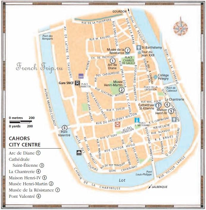 Карта Каора с отмеченными достопримечательностями - Каор - Cahors - путеводитель по городу