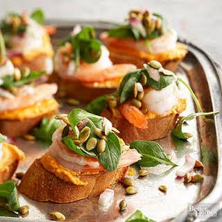 Pumpkin-Shrimp Bruschetta.