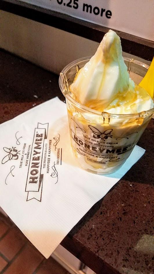 Dessert of milk ice cream with honey at little HoneyMee stand in Koreatown, LA