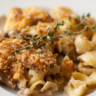 Fontina, Mushroom and Prosciutto Shells & Cheese