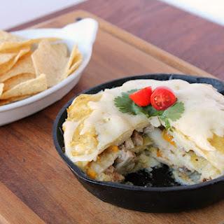 Salsa Verde Layered Chicken Enchiladas