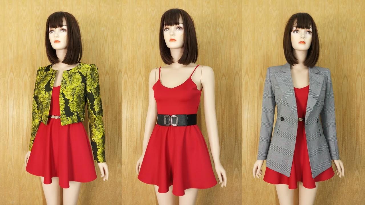 Mix đồ dạo phố (P1) Váy xòe hai dây và Áo khoác nữ thời trang thủy