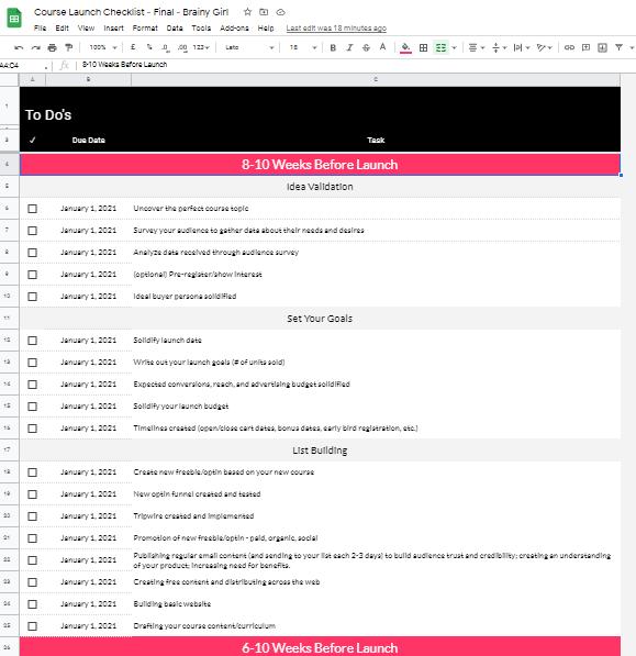 course launch checklist