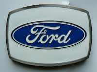 Bältesspänne Ford vit fyrkant