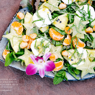 Mixed Greens Salad with Lilikoi Vinaigrette, Honey Macadamia Nuts, and Goat Cheese Recipe #cheesebabyshower.