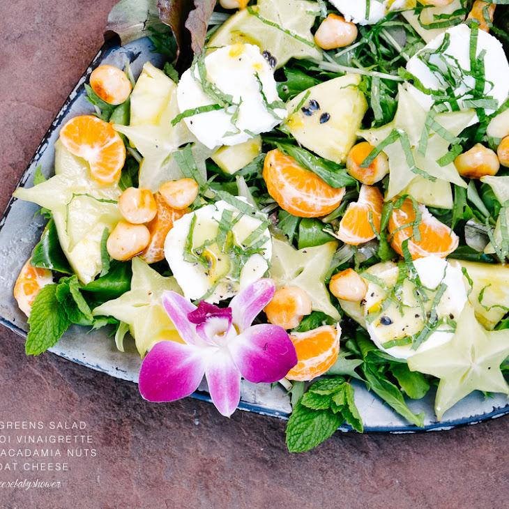 Mixed Greens Salad with Lilikoi Vinaigrette, Honey Macadamia Nuts, and Goat Cheese Recipe #cheesebabyshower