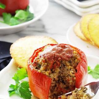 Einkorn Berries and Beef Stuffed Peppers.