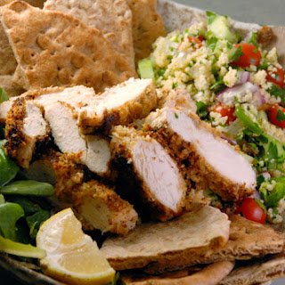 HUMMUS CRUSTED CHICKEN + COUSCOUS TABBOULEH