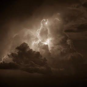 Storm by Jay Hathaway - Black & White Landscapes ( storm, night, llightning, weather, black and white )
