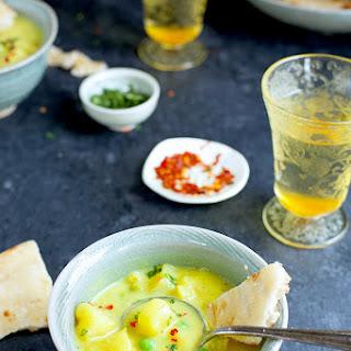 Potato and Pea Coconut Curry Soup.