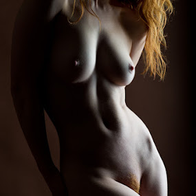 Classic nude in red by Nigel Johnson - Nudes & Boudoir Artistic Nude ( side lit, nude, classical, red hair, muscles, bodyscape, white, back, brown, ivory flame, black )