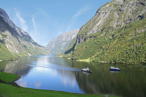 Norway-Naeroyfjord3 - Blue skies, granite peaks and placid waters of Naeroyfjord make for a pleasant day trip.